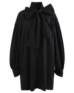 ボウノットチュニックシャツワンピース ブラック