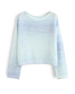 オープンニットセーター ブルー