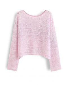 オープンニットセーター ピンク