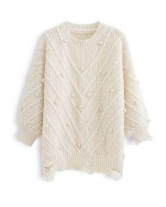 ポンポン付きオーバーサイズセーター アイボリー