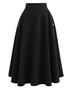 サイドポケットAラインスカート ブラック