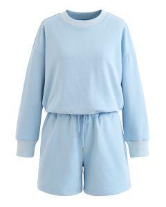Round Neck Sweatshirt and Drawstring Shorts Set in Sky Blue
