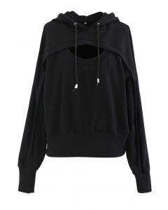 カットアウトフードスウェットシャツ ブラック