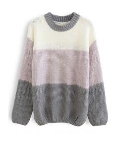 ブロックストライプオーバーサイズセーター グレー