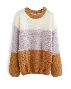ブロックストライプオーバーサイズセーター キャメル