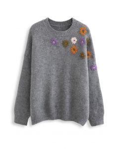 クルーネック花柄刺繡セーター グレー