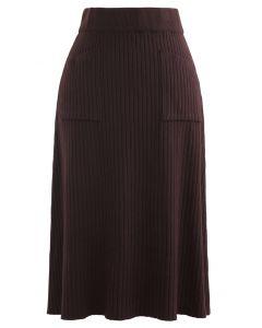 ツーポケットニットスカート ブラウン