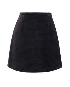 コーデュロイミニバッドスカート ブラック