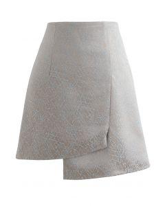 刺繡ライン非対称ミニスカート