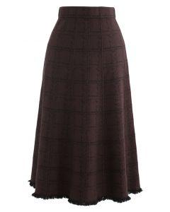グリッドフリンジ裾ニットスカート ブラウン