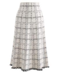 グリッドフリンジ裾ニットスカート アイボリー