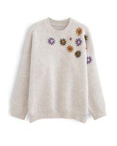 クルーネック花柄刺繡セーター アイボリー