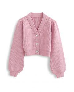 ボタン付きパフスリーブクロップカーディガン ピンク