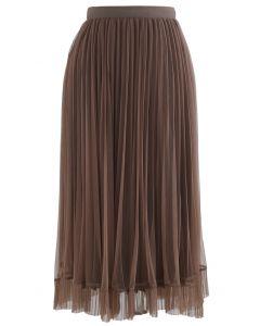 メッシュヘムプリーツスカート ブラウン