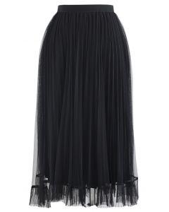 メッシュヘムプリーツスカート ブラック