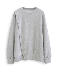 クロスフラップオーバーサイズスウェットシャツ グレー