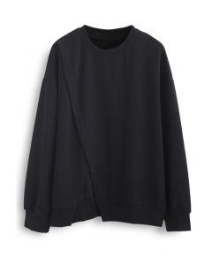 クロスフラップオーバーサイズスウェットシャツ ブラック