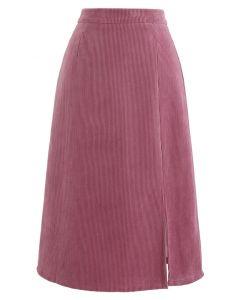フロントスプリットコーデュロイスカート ピンク