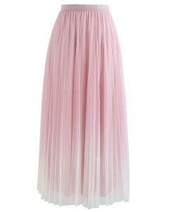 グラデーションダブルレイヤードメッシュスカート ピンク