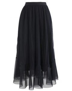 シフォンプリーツミディスカート ブラック