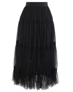 ダブルレイヤードメッシュスカート ブラック