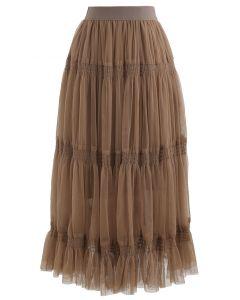 ダブルレイヤードメッシュスカート キャメル