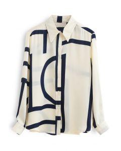 ミックスストライプ裾シャツ アイボリー