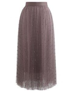 ドットプリーツチュールメッシュスカート ベリー