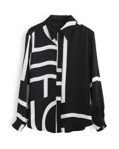 ミックスストライプ裾シャツ ブラック
