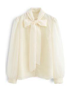 シアーボウノットボタンダウンシャツ アイボリー