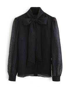 シアーボウノットボタンダウンシャツ ブラック