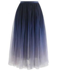 Gradient Glittery Velvet Mesh Midi Skirt in Navy
