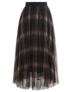 プラッドダブルレイヤードメッシュチュールスカート