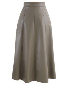 フェイクレザーシームAラインスカート トープ