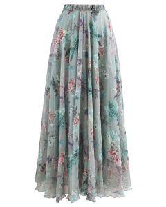 花柄シフォンマキシスカート グリーン