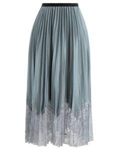プリーツ花柄レースヘムスカート ターコイズグリーン