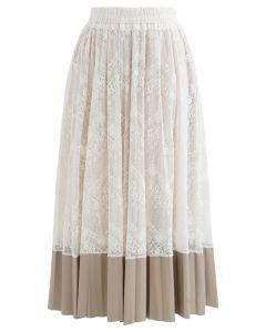 フェイクレザー裾花柄レーススカート