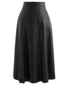 ボタン付きフェイクレザーAラインスカート ブラック