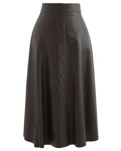 ボタン付きフェイクレザーAラインスカート ブラウン