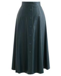 ボタン付きフェイクレザーAラインスカート グリーン