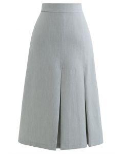 プリーツ裾スプリットミディスカート グレー