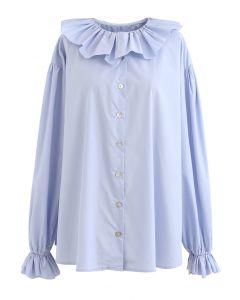 フリルネックボタンダウンルーズシャツ ブルー