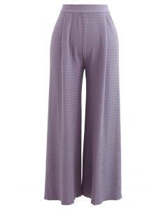 Wavy Textured Knit Pants in Purple