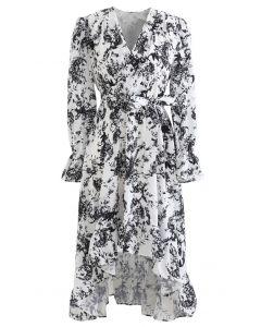 花柄ウォーターフォール裾ワンピース ブラック