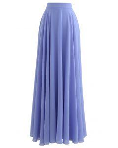 シフォンマキシスカート ブルー
