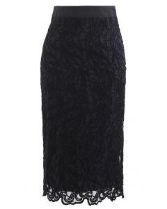 刺繍オーガンザペンシルスカート ブラック
