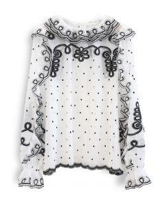ラッフル刺繍シフォントップス ホワイト
