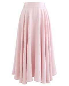 無地フレアスカート ピンク