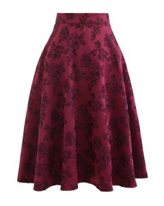 ワインロゼジャカードAラインスカート