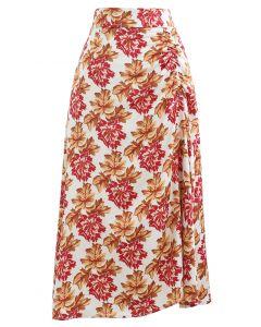 レッド花柄スリップスカート